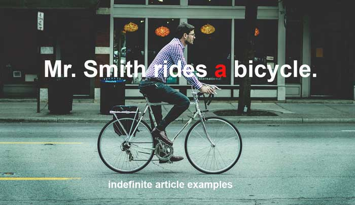 indefinite article examples